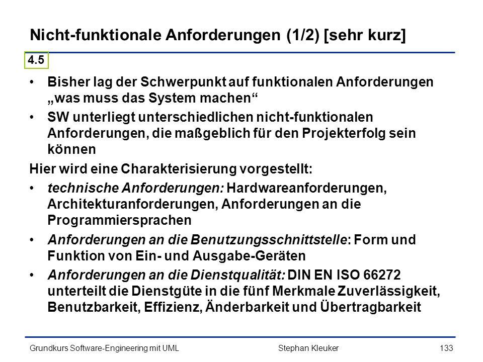 Nicht-funktionale Anforderungen (1/2) [sehr kurz]